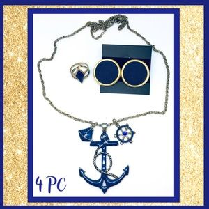 📿4 PC Anchor Necklace/Earrings/Ring